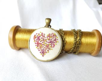 Heart pendant Bead embroidery heart necklace Embroidery necklace Antique beads