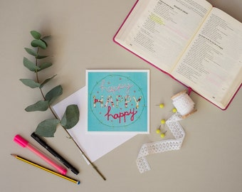 Greeting Card, Happy, Birthday Card, Inspirational Quote, Encouragement Card, Turquoise, Hot Pink