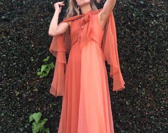 Vintage 70s Chiffon Gown & Capelet - Two-Tone Salmon Sherbet - Size M