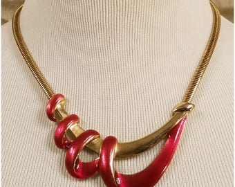 Burgundy enamel gold tone ribbon look necklace