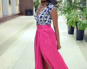 It Girl : Pink High Waist Pleated Maxi Skirt with slit
