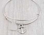 Bangle Bracelet with Anchor Charm and White Lake Erie Beach Glass