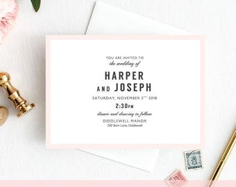 Modern Wedding Invitation RSVP and Info Template printable | Harper Invitation Template | Minimalist Wedding | elegant wedding invitation.