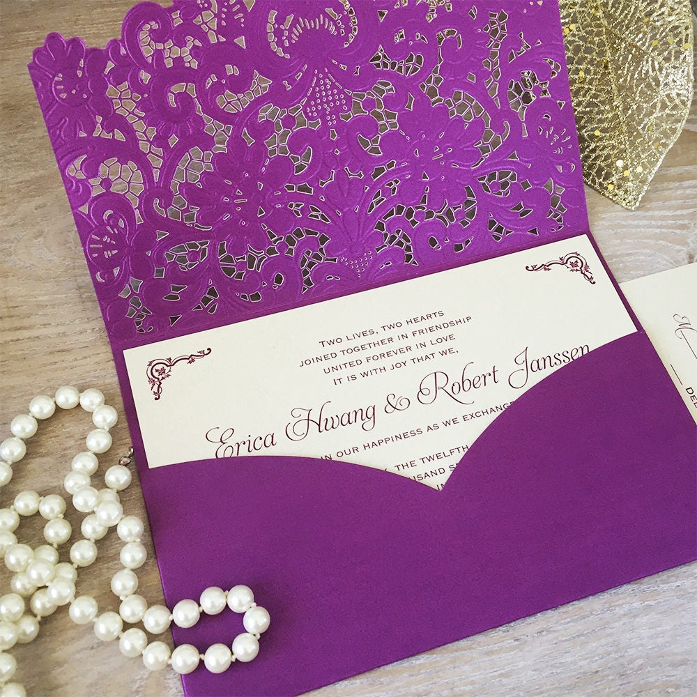 ERICA Purple Laser Cut Pocket Wedding Invitation Champagne – Gold and Purple Wedding Invitations