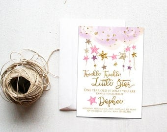 Twinkle Twinkle Little Star Birthday Invitations, One Year Old is What You Are, Girl First Bday, Pink & Gold Invite Printable, 1st Onederful