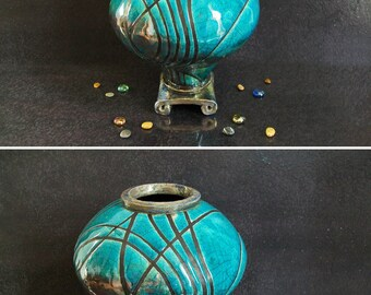 raku ceramic Urn, urn for ashes, keepsake urn, human urn, turquoise urn, memorial urn, drop cremation urn,personalized urn, oriental urn