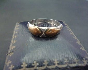 Unique silver vintage ring with bronze detail - 925 - sterling silver - UK I - US 4.75