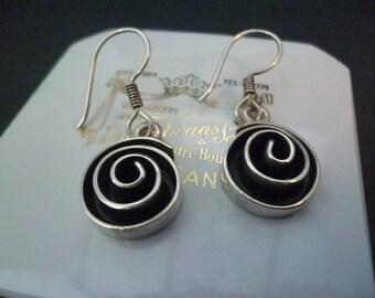 """Stunning silver swirl earrings - dangle - 925 - sterling silver - 1.4"""" drop"""