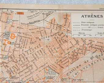 1935 Athens Greece Antique Map