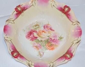 Antique RSP Porcelain RS PRUSSIA Bowl Rose Pattern Mold 22 Variation Jeweled German Porcelain Art Nouveau Prussia Floral Pattern