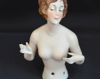 Antique Half Doll Rare German Bisque Molded Hair Nude Art Deco Pin Cushion Lady Goebel Arms Away Vanity Doll Art Nouveau Decor