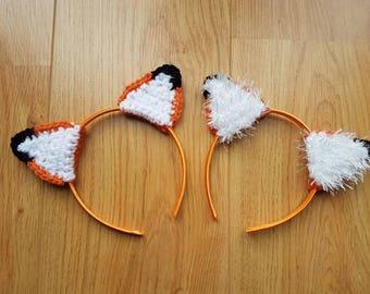 Fox Headband, Woodland, Fluffy Ears, Foxy, Hair Accessory, Aliceband, Child, Dress Up, Crochet, Crocheted Fox, Adult Costume, Kids Costume