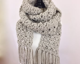 Scarf Extra Long Super Scarf Wool Beige Scarf Fringe Scarf Tan Winter Accessories for Her Handmade Crochet Knit Neutral Scarf Trendy Gifts
