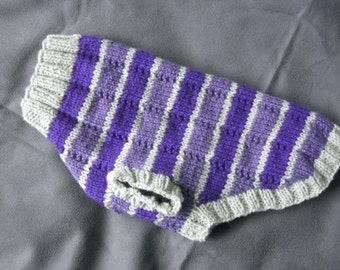 Hand knitted dog sweater/coat in pale grey and purple stripes, to fit 14 to 15 inch chest, 11 inch back length - 100% acrylic