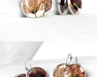 Anniversary gift for wife pressed flower jewelry for mom Large earrings for mother Large round earrings for bride Red poppy jewelry for wife