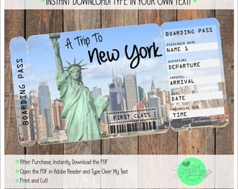 Printable Ticket to New York Boarding Pass, Customizable Template, Digital File - You Fill and Print