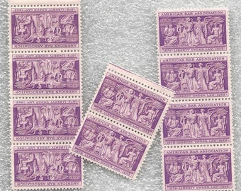 Ten Purple 1953 American Bar Association Unused US Postage Stamps 3 Cents Each Collect or DIY Crafts Scott 1022 Liberty Law ~ 8102