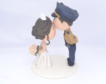 Wedding cake topper. Police Officer and bride. Couple kissing. Formal uniform . Handmade. Fully customizable. Unique keepsake.