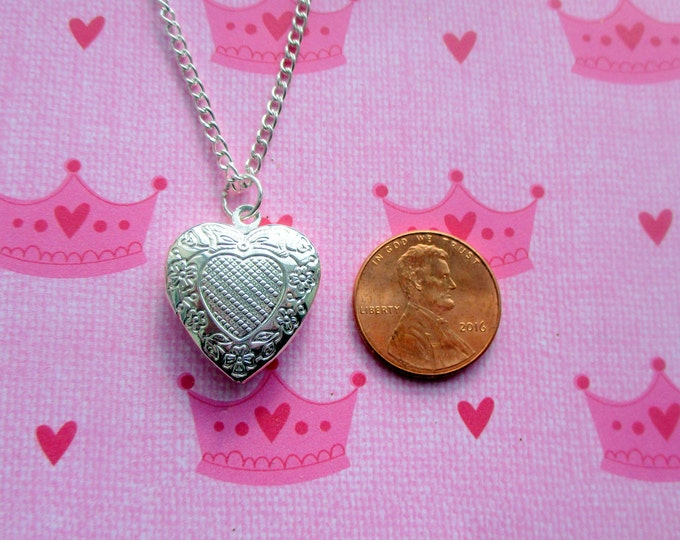 childrens-heart locket-sterling silver-Plated-Flower girl gift-girls heart jewelry-flower girl necklace-little girls locket-kids heart