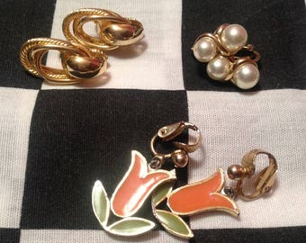 3 Pair Earring Lot - Faux Gold, Pearls & Flowers - Clip On - Retro Costume Jewelry