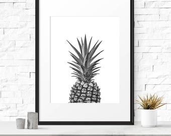 Pineapple art print, Tropical wall art, Black and white Photography, Pineapple printable, Kitchen art, Modern kitchen art, Fruit Art