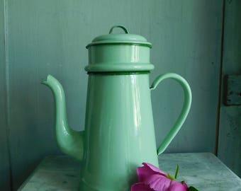 Enamel coffee pot  French vintage enamelware  French coffee pot  Pale green enamel pot  French country decor