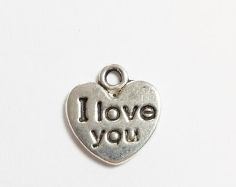 10pcs 'I Love You' Heart Charms - Antique Silver 12x11mm Jewelry Supplies - B05350