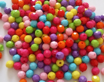 250pcs Round Faceted Beads - Assorted Acrylic Beads - 6mm beads - Wholesale Beads - Beads In Bulk - Jewelry Craft Making Supplies - B21174