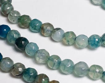 15pcs Dyed Blue Agate Beads - Grade B - Blue Faceted Beads -  Sea Blue Beads - Gemstone Beads - Agate Gemstone - 4mm Beads - B34149