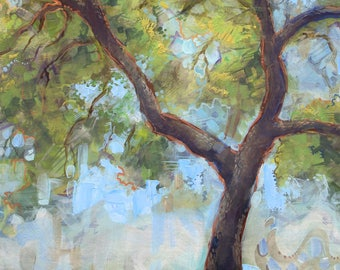 "Large Wall Art Blue Green Tree ""Oak Canopy 2"" on Canvas 40"""