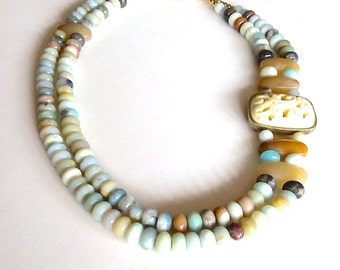 Carved necklace, chunky amazonite, multi strand casual necklace, hand beaded