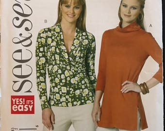 See & Sew B5511 - Easy to Sew Fitted Tops with Shawl Collar and Faux Surplice Wrap Bodice or Mock Turtleneck - Size 16 18 20 22 24