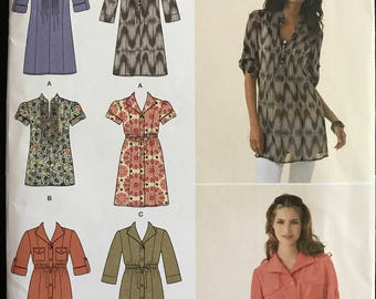 Simplicity 2365 - Tunic with Pointed or Banded Collar and Drawstring Waist Option - Size 16 18 20 22 24