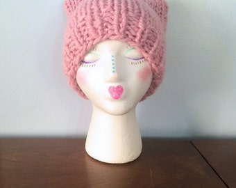 "Chunky Cat Beanie ""Poppy"" - Pussy Hat - Cat Ear Hat - Chunky Knit Hat - Pink Cat Hat - Warm Winter Hat - Pussyhat - Adult Animal Hat"