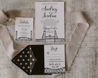 Portland, Oregon Wedding Invitations | City of Bridges | Wedding Invitation Suite