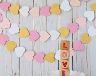 Pink heart garland, Heart garland, Valentine's decor, Valentine's garland, Paper heart garland, Girl birthday, Valentine's photo prop
