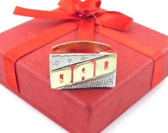 14 K Yellow Gold Diamond Dad Ring Size 11