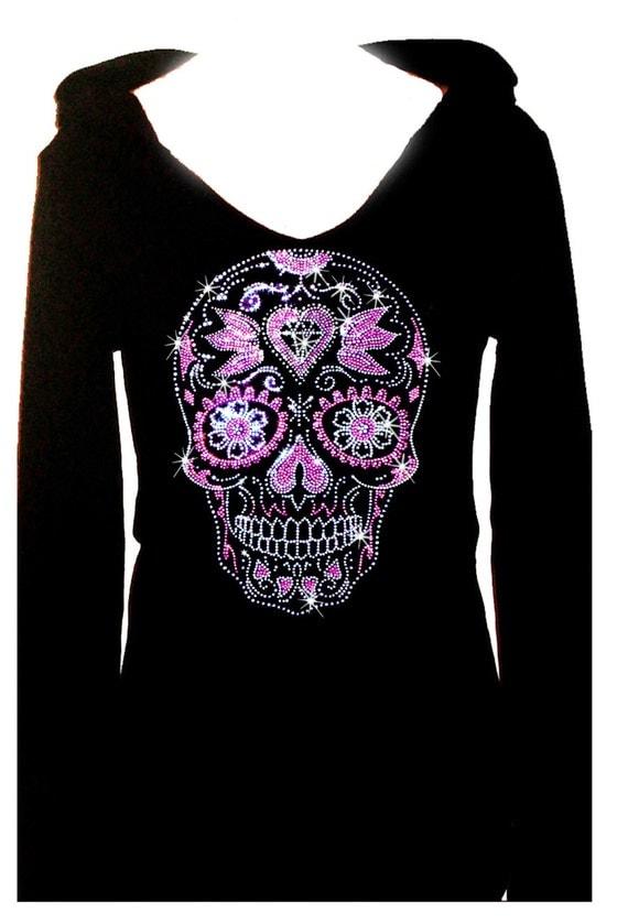 Sugar skull halloween rhinestone womens holiday bling tee for Women s embellished t shirts