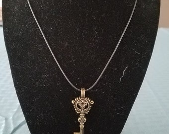 Handmade Bronze Key Pendant w Black Leather Rope Necklace