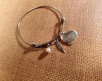 INK-1 MEDIUM FINGERPRINT heart adjustable bangle bracelet in solid Fine .999 Silver-includes angel wing & pearl