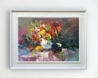 Still Life Painting Pansy Abstract Art Canvas Vase of Flowers Painting Romantic Art Still Life Oil Painting Gifts for Her Wife Gifts