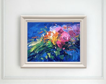 Abstract Flowers Painting Canvas Art Original Painting Oil Painting Abstract Painting Abstract Art Flowers Gift for Mom, Wife Gifts For Her
