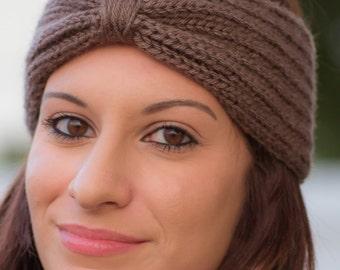 Knitted Ear Warmer - Knit Headband - Turban Headband Ear Warmer - Brown - Gray - Black Knit Headband for Women - Gift for Her