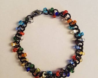 Black with Multi-color Chainmaille Beaded Bracelet