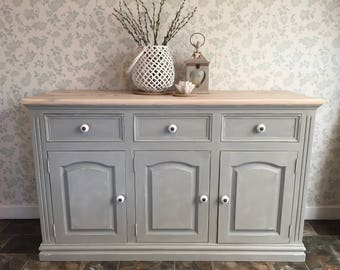 Pretty Rustic Pine Sideboard~ Hand-painted in Grey & white