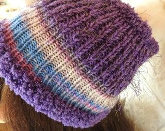Handmade Women's Multicoloured Pompom Hat - Free Shipping