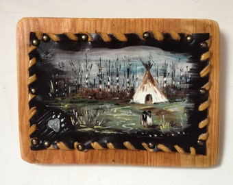 """Tepee -painting on leather   """"tow kids"""""""