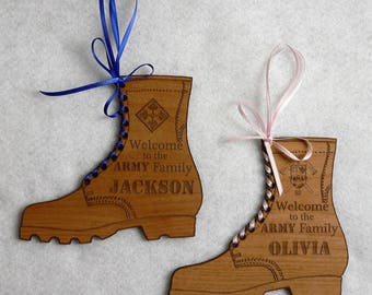 """Personalized Baby """"Boot"""" Engraved Wooden Plaque"""