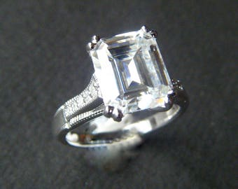 Moissanite Engagement Ring 'Beauvais' FOREVER ONE Emerald Cut with Accents Engagement Ring  Moissanite NEO Harro Supernova  Ring