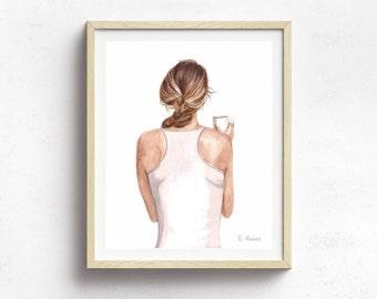 coffee lover art print - feminine decor - watercolor art print - coffee lover illustration - coffee lover gift - girl power art - mom boss